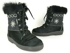Oscar Sport Apres Boots Black Fur Sheep Wool Lined Made in Italy Sz 40 US 9