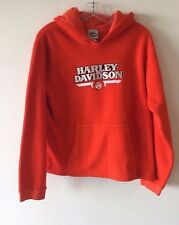 Harley Davidson Fleece Hooded Jacket Embroidery Orange Youth Large 14-16