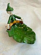 Vintage Pixie Elf Leprechaun Sitting on a Leaf Ceramic Painted Pin or Ring Dish