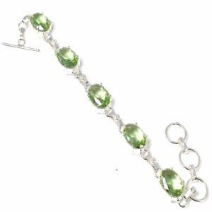 Green Amethyst Gemstone Handmade 925 Sterling Silver Jewelry Bracelets Sz 7-8