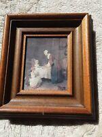 Bild Holzrahmen 22 x 20 Tischgebet nach Jean Baptista Simon Chardin dekorativ