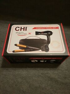 CHI Beauty On The Go Compact Travel Set, 1000W Hair Dryer, 3-in-1 Iron, Bag. NEW