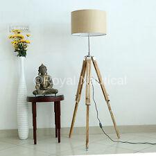 WOODEN TRIPOD NAUTICAL STYLISH TEAK WOOD FLOOR LAMP VINTAGE HOME DECOR