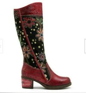 Boho Women Flower Splicing Genuine Leather Knee High Boots Cowboy Zip  Boot DCKP