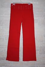 Retro Womens Pants Red Stretch Flare Leg Rhinestones Size L Made in USA (A20)