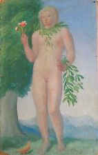 Unknown Unidentified European: Nude Woman Holding Flower / S/Oil Vintage Classic