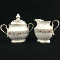 VTG Sugar Bowl and Creamer Set Mikasa Grosvenor Rust & Gray Floral Japan L6216