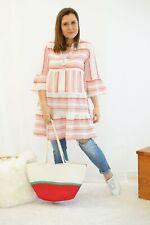 Tunika Kleid Cotton Viskose Creme Weiß Korall One Size S/M L 36 38 40 (R3) NEU