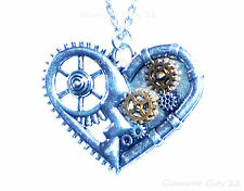 Steampunk Clock Cogs Silver Gold Vintage Retro Chain Love Gift non mechanical UK
