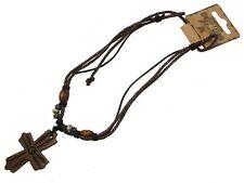 Mens Crucifix Fashion Necklace Black & Brown Slip Knot Design MENJW13