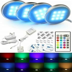 4x LED Under Cabinet Light Kit RGB Puck Lamp Multi Color Counter Kitchen Display