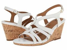 NEW Sofft Corinth Women's Leather Sandals White Wedge Shoes Sz 10