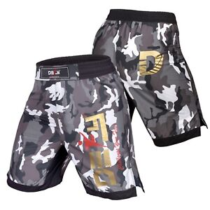 DEFY White Camo MMA Boxing Shorts Gym Muay Thai UFC Cage Fight BJJ Grappling