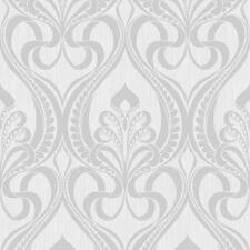 Grandeco Gold Art Nouveau Silver Wallpaper 113002 - Metallic Glitter Damask