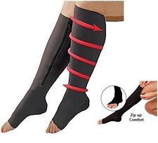 Open Toe Zipper Compression Socks / Knee-High / Black Large