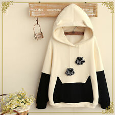 Japanese Mori Kawaii Girl Cute Hat Sweater Shirt Cat paw Tail Hoodies Clothing