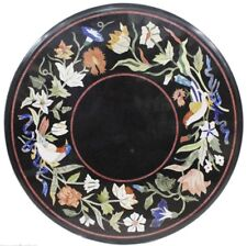"""24"""" Round Marble Table Top Multi Stones Inlay Handmade Work Home Room decor"""