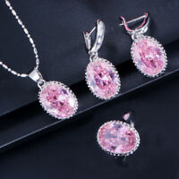 Lovely Set Oval Genuine Natural Pink Kunzite Gems Silver Necklace Earrings Rings