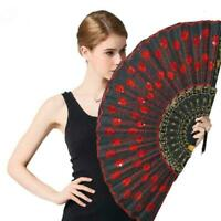 Peacock-Pattern Folding HandHeld Dance Fan Embroidered Sequin Party Wedding X0A4