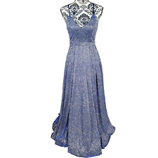 Sequin Hearts Juniors 5 Sparkling Blue Strappy Formal Prom Gown