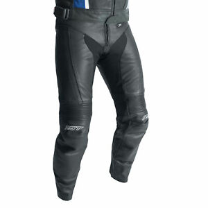 RST R-18 (CE) Leather Motorcycle Motorbike Sports Race Jeans Black