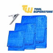 More details for heavy duty tarpaulin blue waterproof strong cover sheet ground eyelet 3 sizes