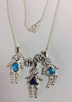 Vintage Sterling Silver Birthstone Necklace Kid Charms Blue CZ & blue Saphire