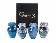 Set of 4 Beautiful Shades of Blue Keepsakes Urns, Handcrafted!
