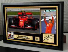 CHARLES LECLERC SPA BELGIAN GP 2019 FERRARI F1 2019 A4 Framed Canvas Signed