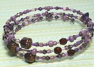 Handmade Beaded Bracelet Memory Wire Stack Boho Cuff Wrap OOAK Bangle Purple