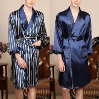 Mens Satin Silk Pajamas Kimono Bathrobe Robe Dressing Gown Nightwear Loose Robes