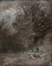 A Rider and Dead Horse Landscape by Gustave Dore Old Masters  13x16 Paper Print