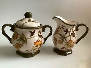 April Cornell Hand Painted Traditional Floral Cream & Lidded Sugar Set - Mint