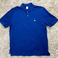 Brooks Brothers Men's XL Blue Short Sleeve Cotton Golf Polo Fleece Logo Shirt