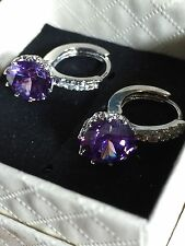 Diamond style HOOP Earrings  AMETHYST TOPAZ  18CT WHITE GOLD FILLED  12MM