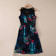 New black pink green floral print lace insert sleeveless dress size 6-14