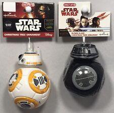 2016 Hallmark STAR WARS BB-8 AND BB-9e Sphero Glass Christmas Tree Ornaments NEW