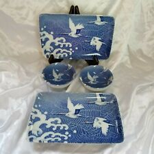 Miya Cranes 4 Piece Dinnerware Serving Dish Blue , Japan