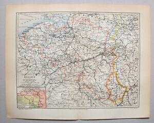 Belgien und Luxemburg - Alte Landkarte - Lithographie 1898