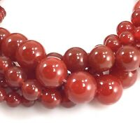 "Natural Red Carnelian Spacer Round Beads 15"" 4mm 6mm 8mm 10mm 12mm Wholesale"