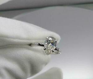 2.00Ct Pear-Cut VVS1 Diamond Solitaire Engagement Ring Solid 14K White Gold