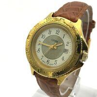 SLAVA Golden Compass Bezel Russia Men Casual Date Watch Mineral Crystal SERVICED