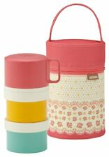 THERMOS Thermal Bento lunch box with bag three-stage 580ml Coral Pink Japan F/S