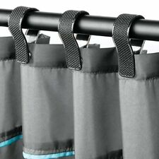 Modern Shower Curtain Hooks Contemporary Matte Black Bathroom Decor 12 pc NEW