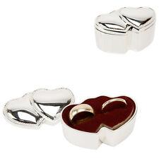 Wedding Ring Box Silver Plated Double Hearts Ring Bearer Box Cushion SF
