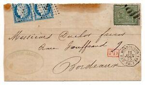 1875 Montevideo (Uruguay) 10 c. per Bordeaux Francia tassata 4x 25 c.