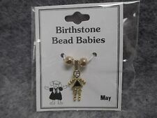 May Baby Birthstone Bead Babies Necklace Pendant Gold Tone Triangle Body