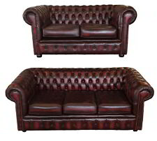 Genuine Leather Chesterfield Three & Two Seater Sofa in Antique Oxblood Red