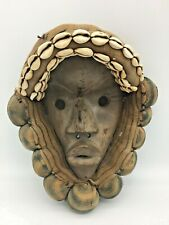 """Vintage African Mask Carved Wood Tribal Art w Fabric Cowrie Shells 12"""""""
