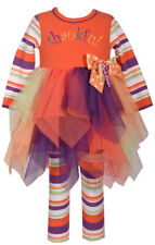 Bonnie Jean Girls Holiday Turkey Thanksgiving Orange Dress Legging Set 4 5 6 6X